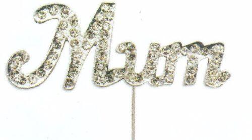 Diamante Mum Dad or Nan on Silver Stem Cake Topper Decoration