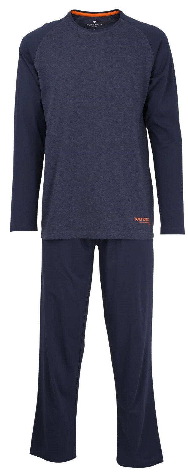 TOM TAILOR Schlafanzug Gr. XL/54 Jersey-Pyjama blau U-Ausschnitt Raglanärmel