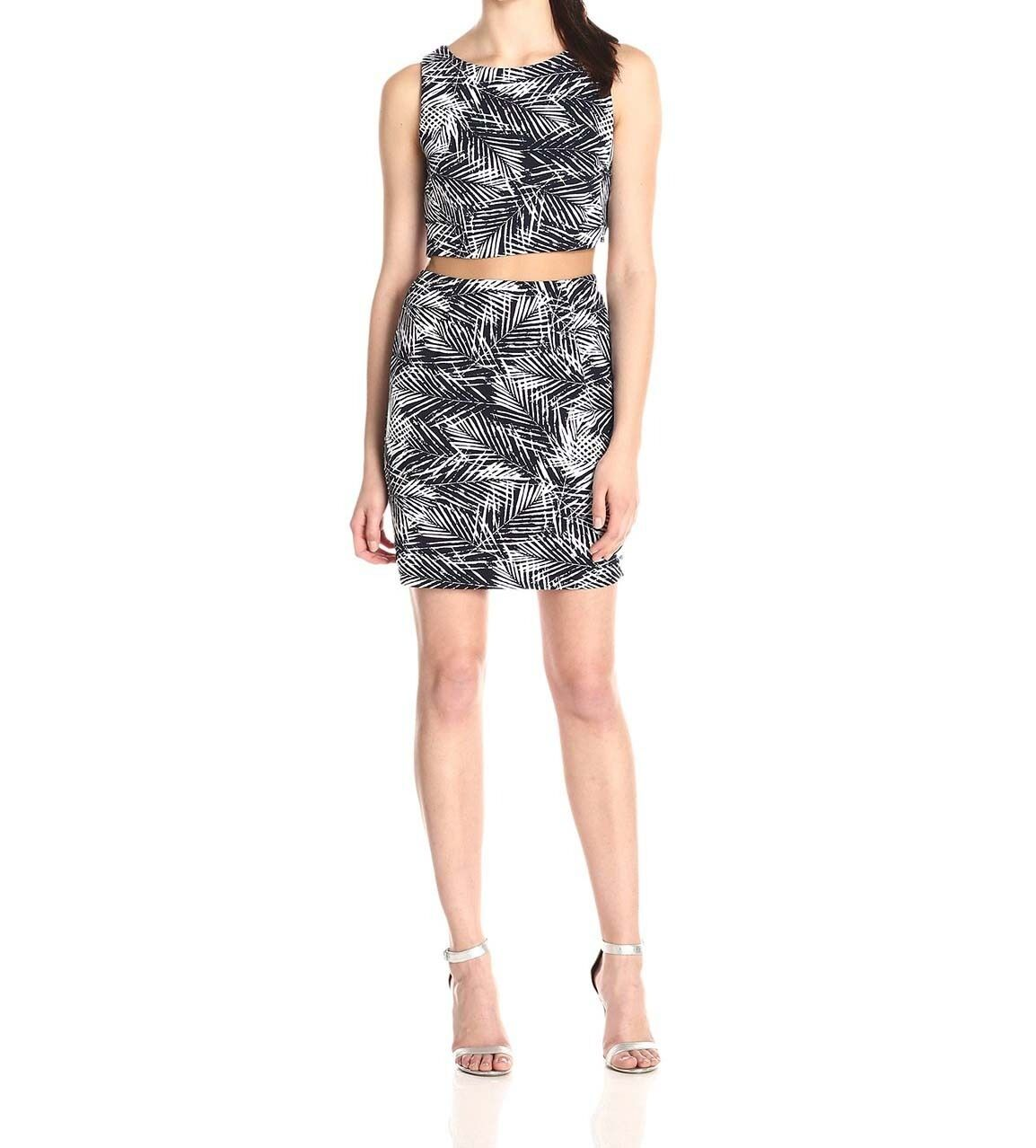 Bailey 44 Womens Paradise Cove Palm-Print Two-Piece Illusion Dress Med  284 2563