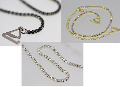 PAIR SILVER  Diamond Crystal Adjustable DETACHABLE BRA STRAPS