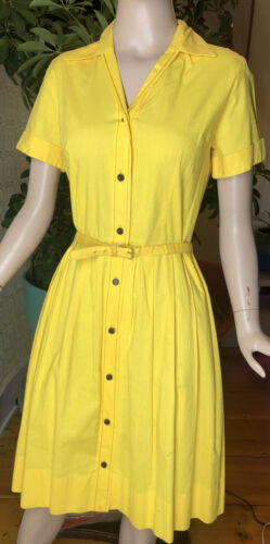 Vintage 50s Princess Peggy Yellow Day Dress Button