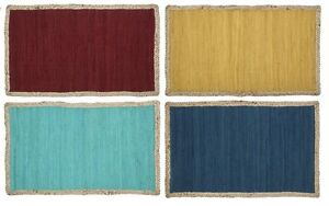 Solid Color Chindi Accent Rag Rug With Jute Border Hand Woven India
