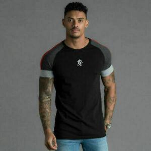 Gym-King-Mens-Crew-High-Build-Logo-Ali-Retro-Designer-T-shirt-Tee-Black-Grey-Red