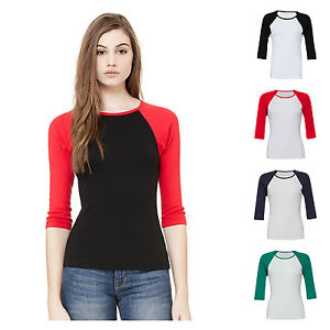 Womens-Ladies-3-4-Sleeve-Raglan-Baseball-Casual-T-Shirt-Tee-Jersey-Top-8-16