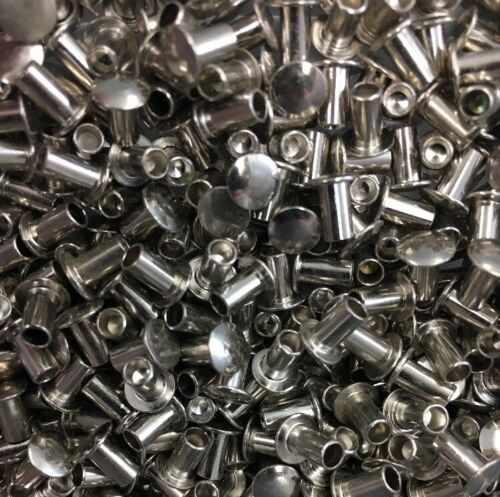 1//8 X 7//32 Semi Tubular Rivet Brass Nickel Oval Head 500