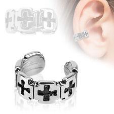 Iron Cross Pattern Rhodium Plated Brass Non Piercing Cartilage Ear Cuff Ring