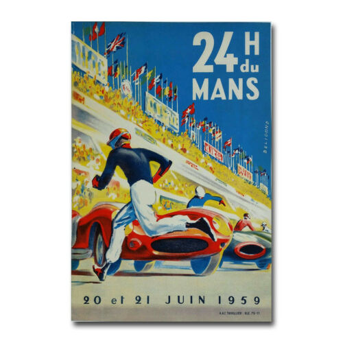1959 Le Mans Race Car Vintage Style Auto Racing Art Silk Canvas Poster Print