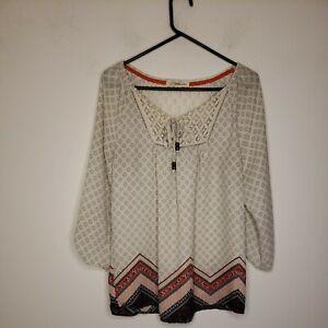 Rewind Women's Blouse Top Size Medium Ivory Pink Black Paisley Crochet Neckline