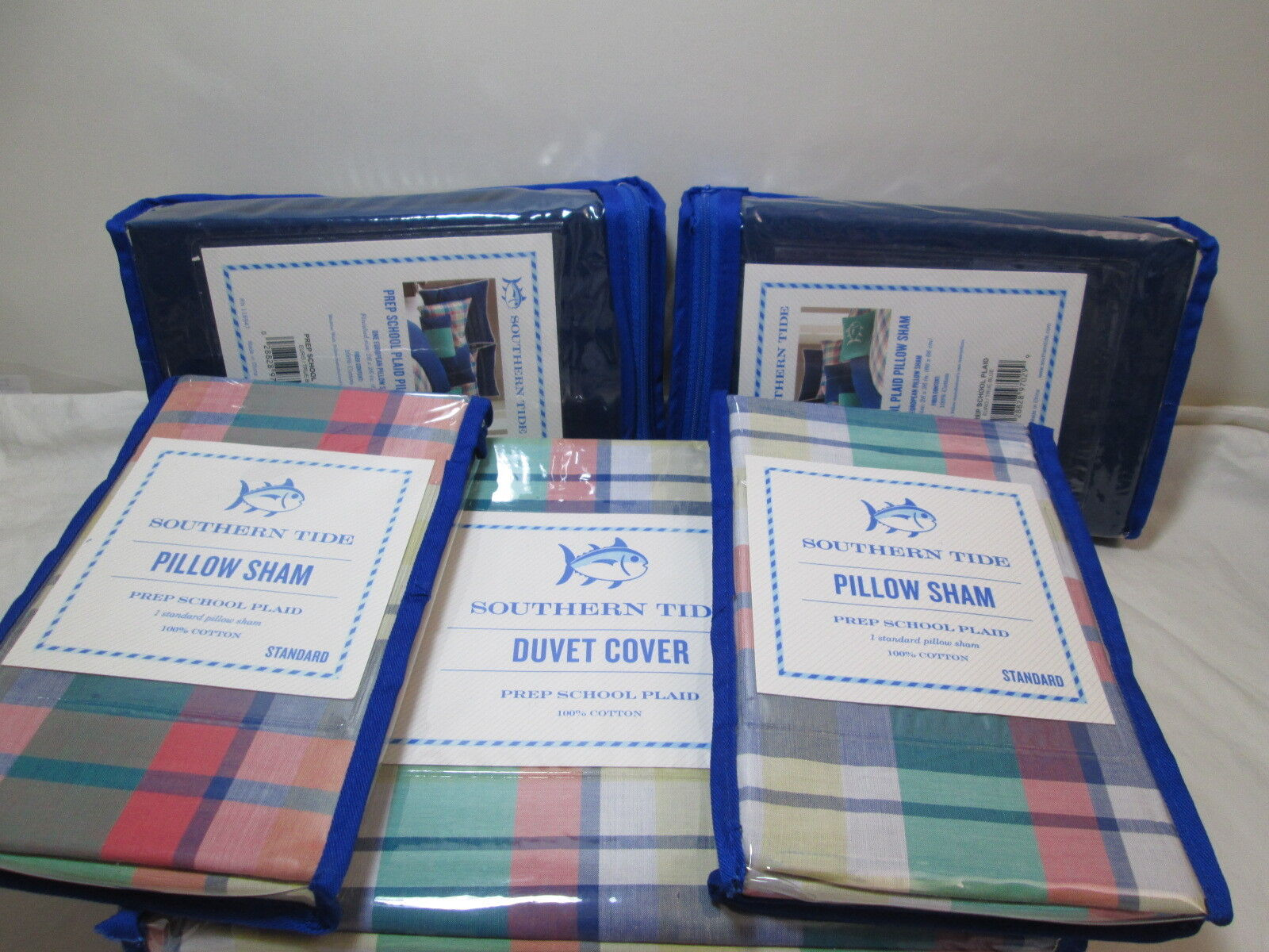 5 pcs Southern Tide Full Queen Duvet Cover and Shams Set Prep School Plaid NEW
