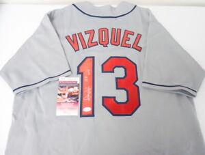 Certified Indians Omar Vizquel #13 Signed Autographed XL Jersey w/ JSA COA