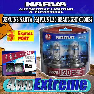 NARVA-H4-120-PLUS-120-HALOGEN-HEADLAMP-LIGHT-BULBS-NEW-GLOBES-48362BL2