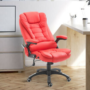 Executive Ergonomic Heated Vibrating Massage Office Chair PU Leather Red