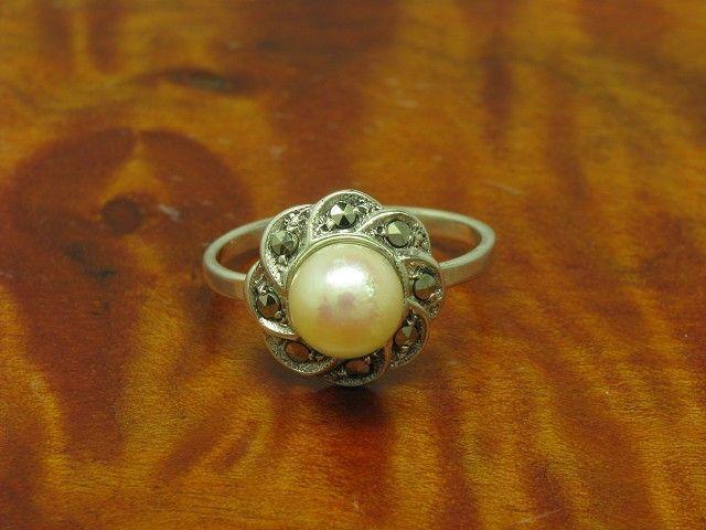 835 silver Ring mit Markasit & Akoya-Perlen Besatz   Echtsilver   RG 48,5   2,1g