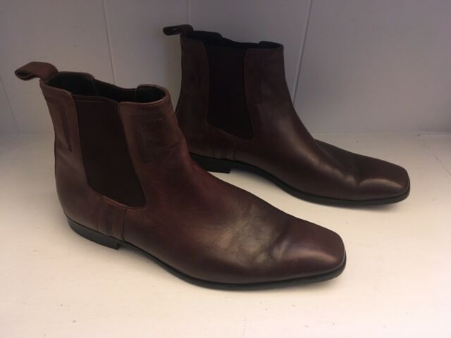 Hugo Boss Leather Ankle Boots Brown Size 9.5