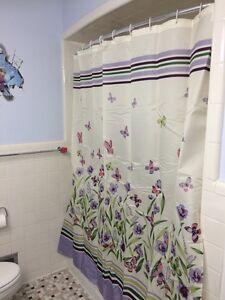 butterfly garden pastel shower curtain spring purple botanical floral bath decor 626850296952 ebay. Black Bedroom Furniture Sets. Home Design Ideas