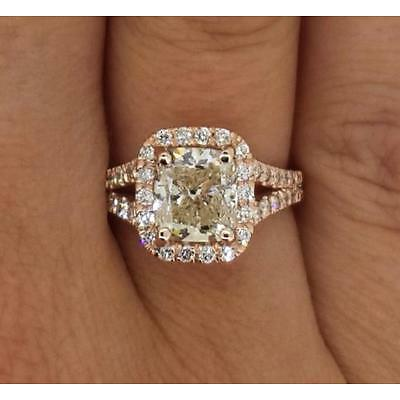 3.10 Ct Cushion Cut Vs2 Diamond Halo Solitaire Engagement Ring 14K Rose Gold