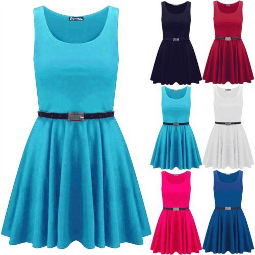 Kids Girls Belted Sleeveless Flared Franki Sleeveless Swing Mini Skater Dress