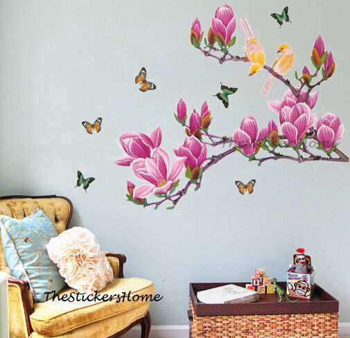 X Large Pink Magnolia Tree Flower Butterfly Wall Stickers Home Decor