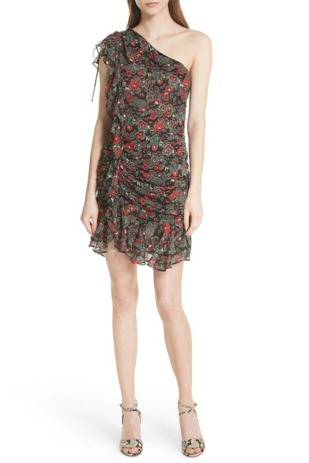 Veronica Beard Ballard Print One Shoulder Silk Dress Größe 8 Originally