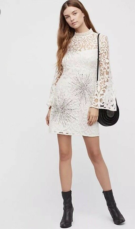 Free People North Star Lace Sequins Mini Mini Mini Dress Ivory 4 S  168 NWT 23aa66