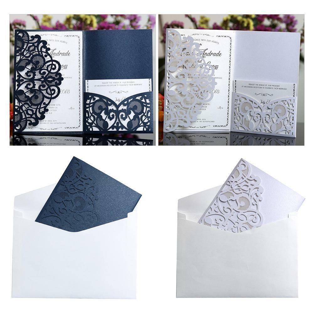 25 50PCS Découpe Laser Mariage Invitation Carte dentelle Business Party cartes d'invitation