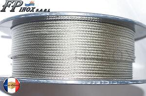 Rouleau de 100M Cable 5mm inox 316 7x19 Soit 133 Fils inox A4