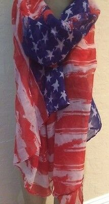 NEW WOMENS SCARF PASHMINA SHAWL AMERICAN FLAG RED/WHITE/BLUE