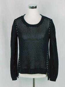 Rock-amp-Republic-Net-Knit-High-Low-Black-Sweater-Size-Medium-100-Cotton-EUC