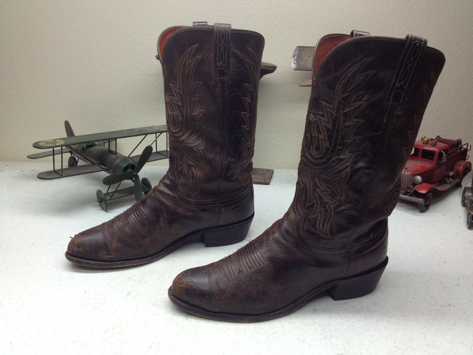 DISTRESSED LUCCHESE BROWN LEATHER ENGINEER MOTORCYCLE BOOT 11EE