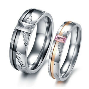 R006 Promise Ring Lover Couple Wedding Party Titanium Steel lover gift wholesale