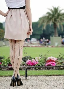 NEW-Retro-Contrast-Seam-and-Cuban-Heel-Seamed-Tights-with-Polka-Dots