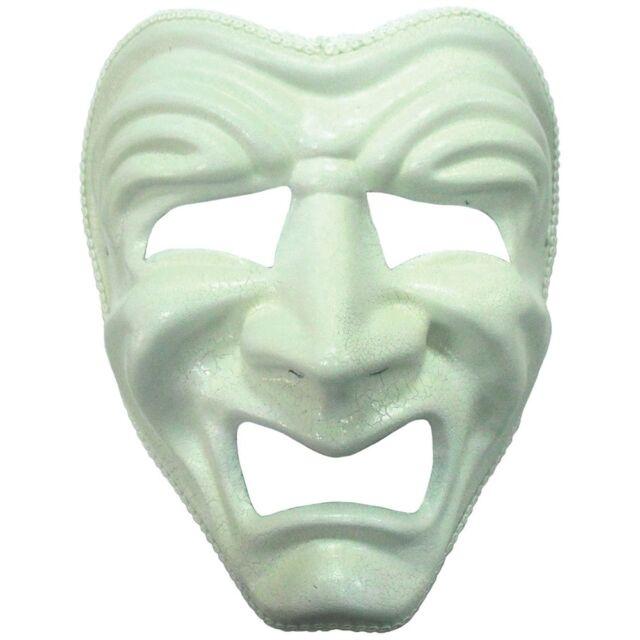 WHITE Triste Maschera teatrale-Costume faccia Palla Accessorio tragedia Fascia Per Capelli