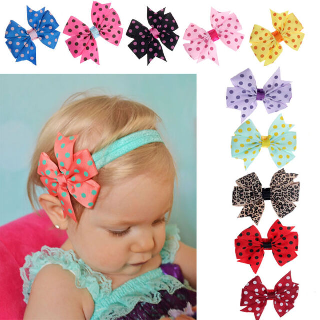 10PC/SET Girl Baby Toddler Flower Headband Hair Band Elastic Bowknot Headwear