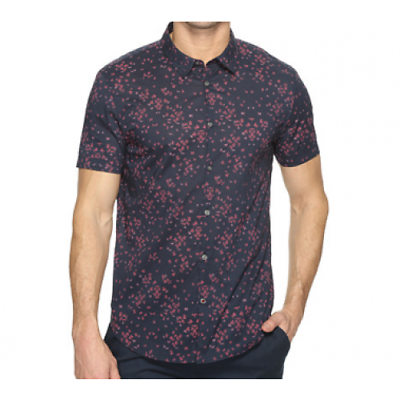 JOHN VARVATOS /'Mayfield/' Slim Fit Fitted Navy Floral S//S Shirt RRP £150.00