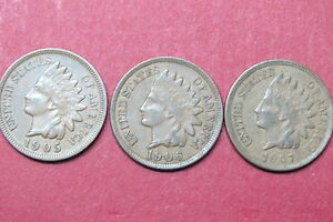 U-S-1905-1907-INDIAN-HEAD-034-COPPER-034-ONE-CENTS-Lot-of-3-034-SCARCE-034-COINS