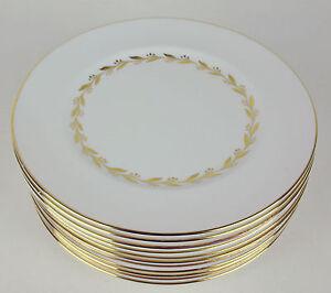 Set-10-x-Salad-Plates-Shelley-Golden-Laurel-14031-vintage-England