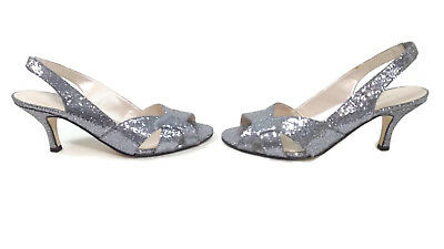 Caparros Womens Silver Glitter Glitz Sling Back Wedding Evening
