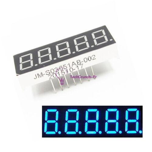 1X 0.36 inch 5 Digital Led Display 7 Seg Segment Common Cathode Blue Module