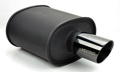 "Megan Racing Universal JDM Exhaust Muffler MBC 2.5"" Inlet Black 3.5"" Tip Nis Toy"