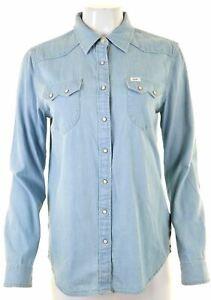 LEE-Womens-Denim-Shirt-Size-14-Medium-Blue-Cotton-AE10