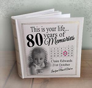"""Personalizzata Grande Album Foto, 200 x 7x5 """"FOTO, 80esimo Compleanno Libro della memoria.  </span>"""