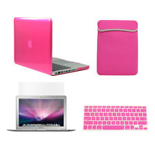 """4 in1 Crystal HOT PINK Case for Macbook PRO 13""""+Key Cover+LCD Screen+Sleeve Bag"""