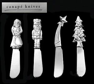 Set of 4 pier one imports silver christmas canap serving for Canape knife blades