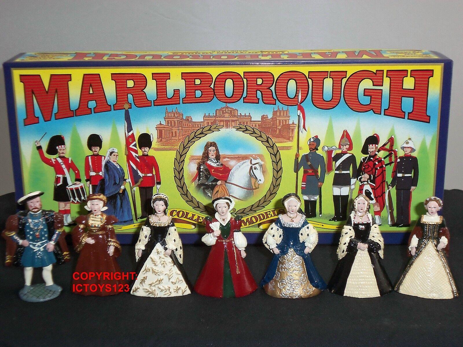 MARLBgoldUGH MODELS KING HENRY VIII + HIS SIX WIVES METAL CIVILIAN FIGURE SET