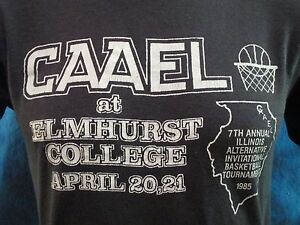 678832ce6 Details about vtg 1985 ILLINOIS CAAEL BASKETBALL PAPER THIN T-Shirt XS elmhurst  college 80s