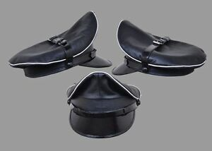Genuine-Leather-Black-White-Trim-Army-Muir-Biker-Peak-Police-Gay-Bluf-Cap