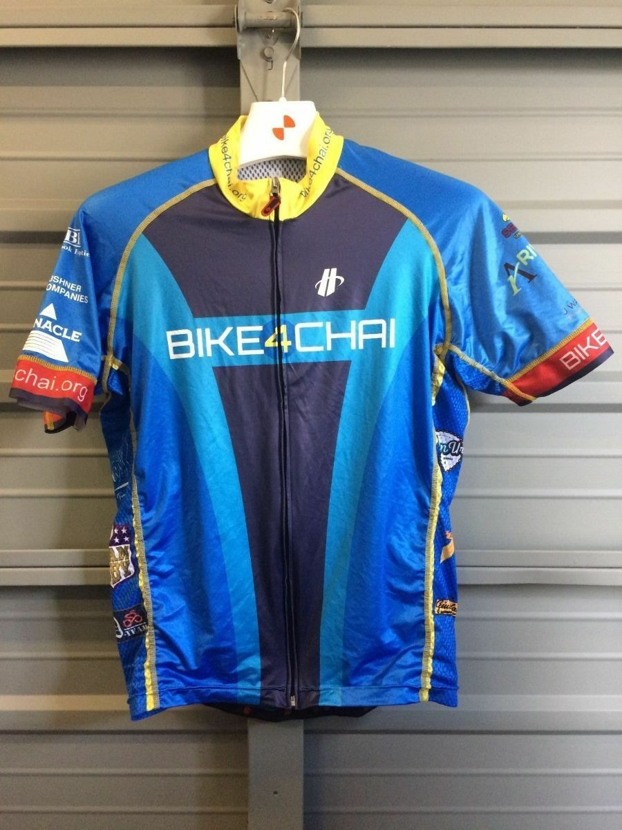 Hincapie Ride4Chai Jersey Talla Grande Ciclismo Azul Cremallera Completa Manga