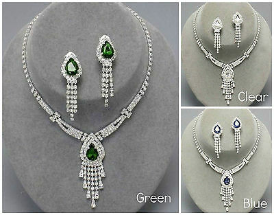 LADIES CRYSTAL WEDDING BRIDAL NECKLACE EARRINGS TEAR RAIN DROP JEWELLERY SET