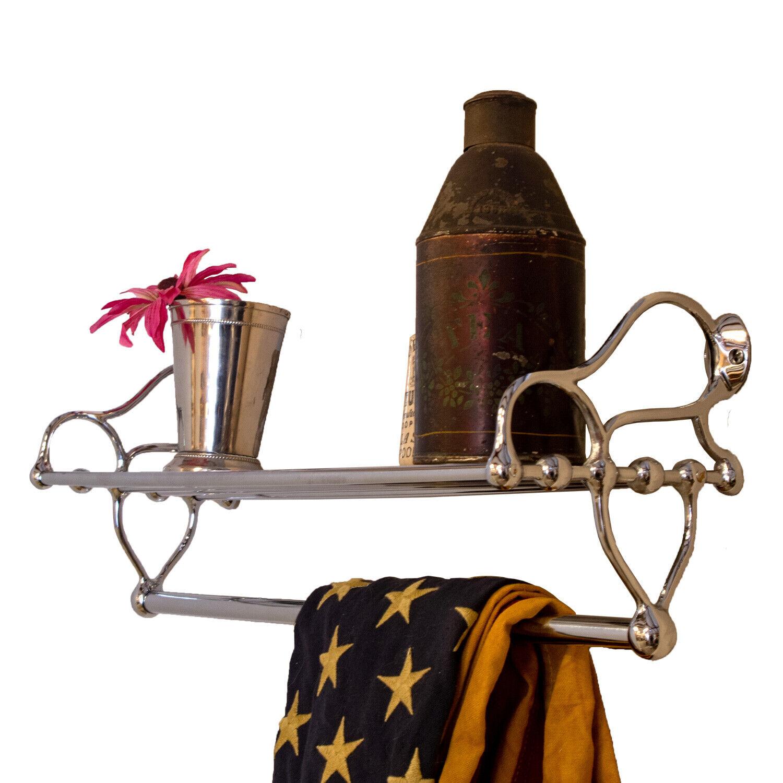 Chrome Bathroom Shelf with Towel Bar and Rack Antique Replica