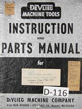 Devlieg Operation Instruct Parts Model 3 B Jigmil Boring Milling Machine Manual